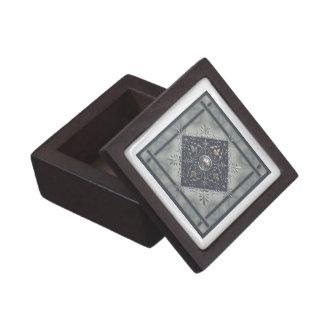 Silver Snowflake Denim Look Keepsake Box