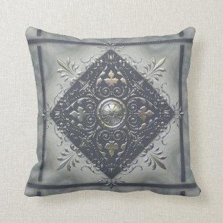 Silver Snowflake Denim Look Throw Pillow