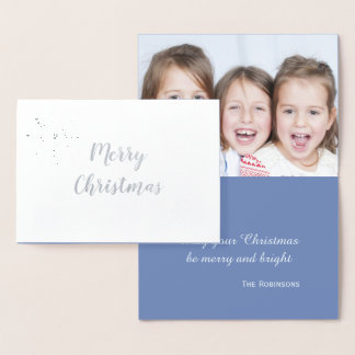 Silver Snowflake Elegant Christmas Photo Foil Card