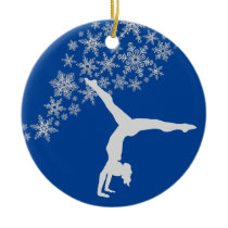 Silver Snowflake Gymnast Personalized Ceramic Ornament