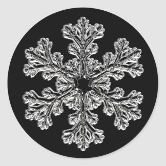 Silver Snowflake Holiday Greeting Classic Round Sticker