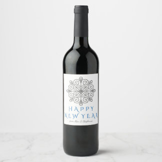 Silver Snowflake Holiday Wine Bottle Labels