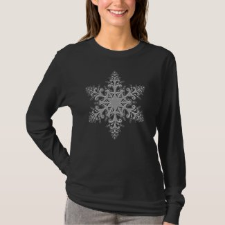 Silver Snowflake Long Sleeve Black T-Shirt