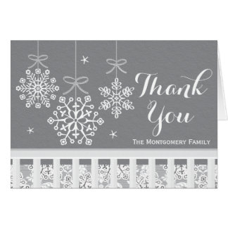 Silver Snowflake Mobile Baby Shower Thank You Card