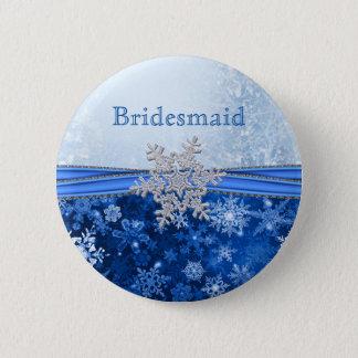 Silver snowflake on blue Bridesmaid Button