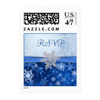 Silver snowflake on blue RSVP Postage