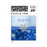 Silver snowflake on blue RSVP Postage Stamps