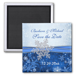 Silver snowflake on blue Save the Date Magnet