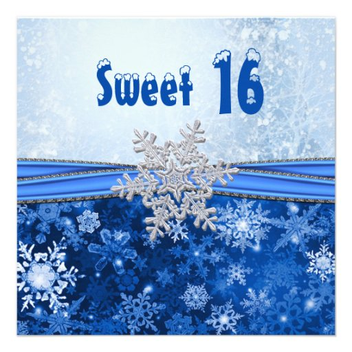 Silver Snowflake On Blue Sweet 16 Party 5 25 Quot Square