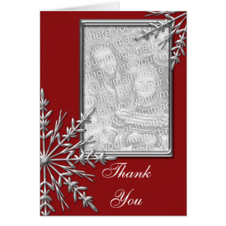 Silver Snowflake on Red Thank You Note Photo Card