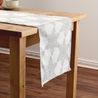 Silver Snowflake on Snow White Table Runner