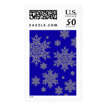 Silver Snowflake Overlay on Cobalt Blue Postage