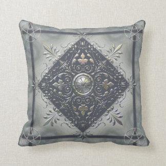 Silver Snowflake Pentacles Pillow