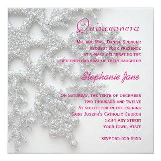 Silver Snowflake Quinceanera Invitation