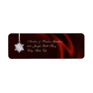 Silver Snowflake Red Silk Holiday Address Labels