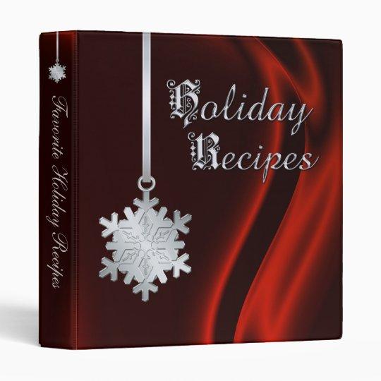 Silver Snowflake Red Silk Holiday Recipe Binder