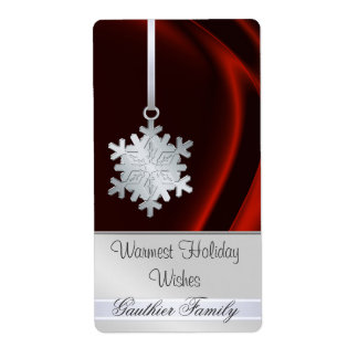 Silver Snowflake Red Silk Holiday Wine Label Shipping Label