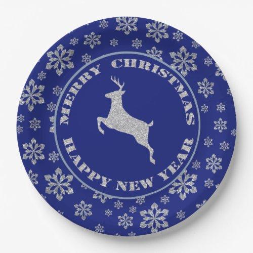 Silver Snowflake Reindeer 7 Inch Paper Plate