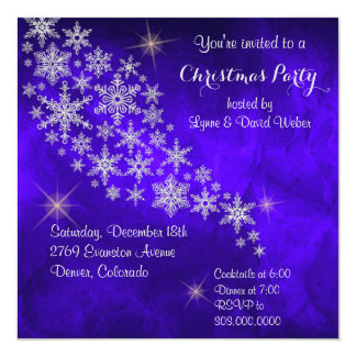 Silver Snowflake Royal Blue Christmas Party Custom Announcements
