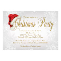 Silver Snowflake Santa Hat  Christmas Party Invitation