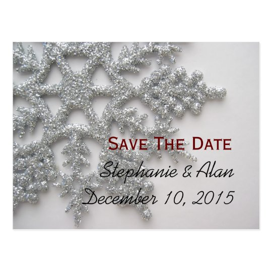 Silver Snowflake Save The Date Postcard