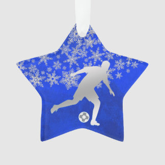 Silver Snowflake Soccer Player on Blue Ornament