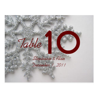 Silver Snowflake Table Number Postcard