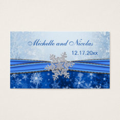 Silver Snowflake Wedding Favor Tag Business Card at Zazzle
