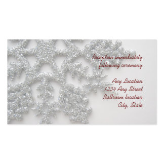 Silver Snowflake Wedding Reception Card Business Card Templates