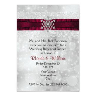 Silver Snowflake Wedding Rehearsal Dinner Card