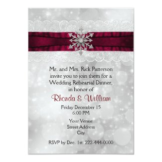 Silver Snowflake Wedding Rehearsal Dinner Invitation