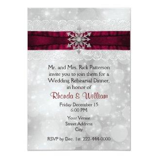 Silver Snowflake Wedding Rehearsal Dinner Invitation