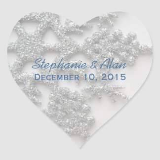 Silver Snowflake Wedding Stickers