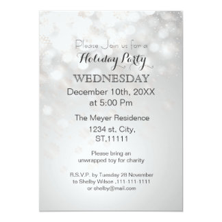 silver snowflakes and bokeh holiday party Invites