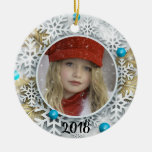 Silver Snowflakes and Gold Fir Ceramic Ornament