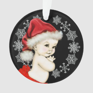 Silver Snowflakes Baby Girl First Christmas Ornament