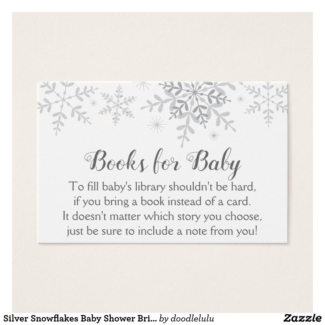 Silver Snowflakes Baby Shower Bring a Book