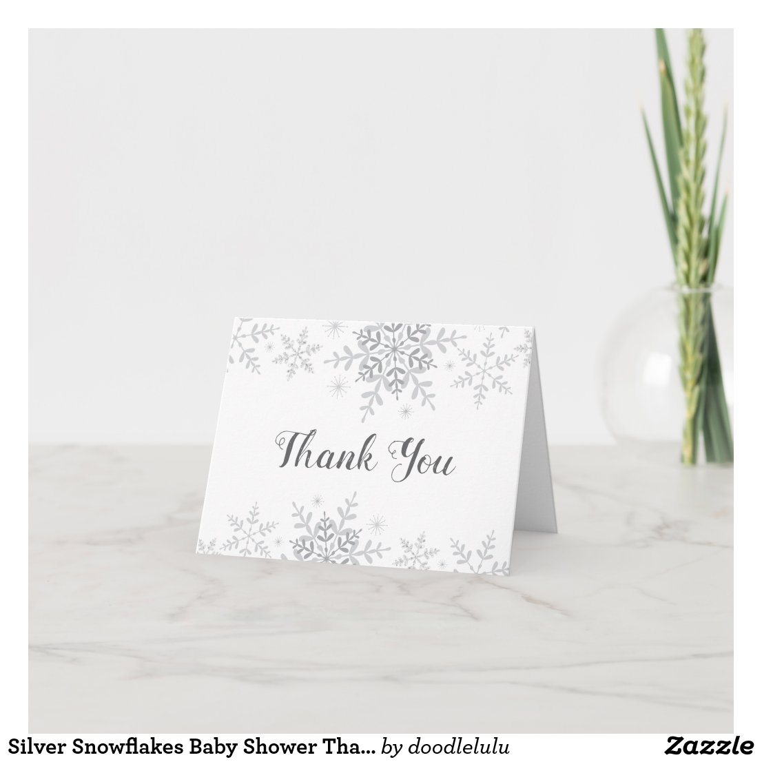 Silver Snowflakes Baby Shower Thank You Card