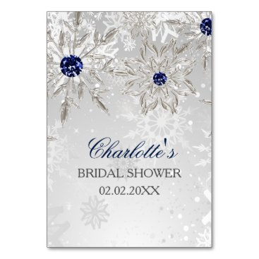silver snowflakes bridal shower bingo cards