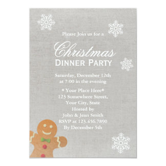 Silver Snowflakes Christmas Dinner Party Card