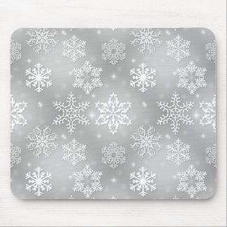 Silver Snowflakes Christmas Holiday Mouse Pad