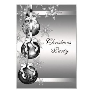 Silver Snowflakes Christmas Party Card
