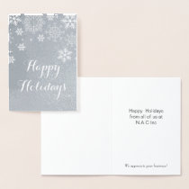 Silver Snowflakes Corporate Holiday Greeting Foil Card