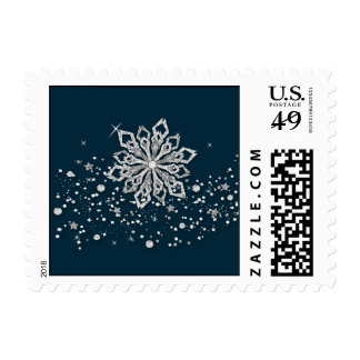 silver snowflakes festive winter holidays stamps