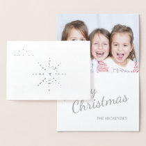 Silver Snowflakes Merry Christmas Family Photo Foil Card