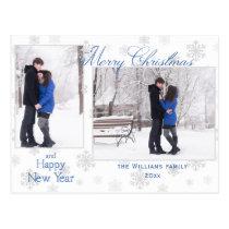 Silver Snowflakes Merry Christmas Two Photos Postcard