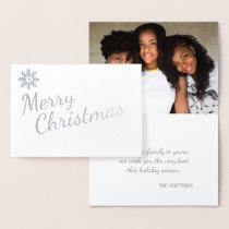 Silver Snowflakes Mod Merry Christmas Photo Foil Card