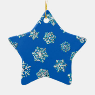 Silver snowflakes on a cobalt blue background ceramic ornament