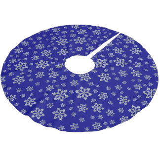 Silver Snowflakes on Blue Brushed Polyester Tree Skirt