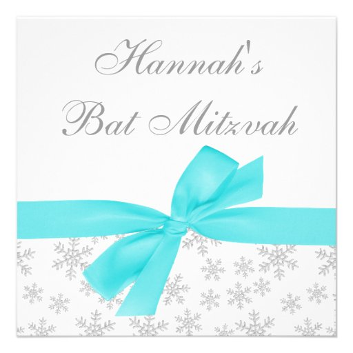 Silver Snowflakes Teal Bow Bat Mitzvah Announcements